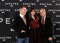 Da sinistra, gli attori Daniel Craig, Monica Bellucci e Christoph Waltz posano durante un photocall per la presentazione del film 'Spectre' a Roma, 27 ottobre 2015.<br /> From left, actors Daniel Craig, Monica Bellucci and Christoph Waltz pose during a photocall for the presentation of the movie 'Spectre' in Rome, 27 October 2015.<br /> UPDATE IMAGES PRESS/Isabella Bonotto<br /> <br /> *** ITALY AND GERMANY OUT  ***