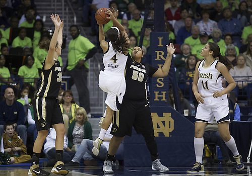December 29, 2012:  Notre Dame guard Skylar Diggins (4) goes up for a shot as Purdue forward Taylor Manuel (50) defends during NCAA Women's Basketball game action between the Notre Dame Fighting Irish and the Purdue Boilermakers at Purcell Pavilion at the Joyce Center in South Bend, Indiana.  Notre Dame defeated Purdue 74-47.