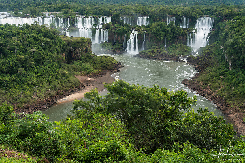 Iguazu Falls National Park in Argentina, as viewed from Brazil.  A UNESCO World Heritage Site.  Pictured from left to right are San Martin, Mbigua, Bernabe Mendez, Adam and Eve, and Bossetti Falls.