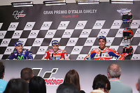 Maverick Vinales of Spain and Movistar Yamaha MotoGP second, Andrea Dovizioso of Italy and Ducati Team winner, Danilo Petrucci of Italy and OCTO Pramac Racing third, during the press conference after MotoGP Italy Grand Prix 2017 at Autodromo del Mugello, Florence, Italy on 4th June 2017. Photo by Danilo D'Auria.<br /> <br /> Danilo D'Auria/UK Sports Pics Ltd/Alterphotos /NortePhoto.com