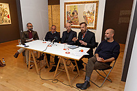 "Pictured L-R: Academic Director for Benaki Museum Georgis Manginis, exhibition curator Stavros Kavallaris, art dealer Peter Bernaerts, musician Jim Sclavunos and artist Stefanos Rokos. Wednesday 03 April 2019<br /> Re: Press call before the opening of Stefanos Rokos' exhibition ""No More Shall We Part"" with paintings based on the 2001 Nick Cave and The Bad Seeds album with the same title, Benaki Museum, Athens, Greece."