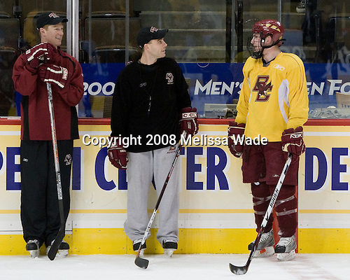 Greg Brown (BC Assistant Coach), Mike Cavanaugh (BC Associate Head Coach), Ben Smith (BC 12) - The Boston College Eagles practiced on Friday, April 11, 2008, at the Pepsi Center in Denver, Colorado, in preparation for the 2008 Frozen Four Final (NCAA D1 national hockey championship game) being played the following day.  Boston College had made the Final for the third year in a row.