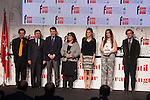 Princess Letizia of Spain, winners of the award and Madrid´s President Ignacio Gonzalez (3L) attend `El barco de vapor´ Awards ceremony at Real Casa de Correos in Madrid, Spain. April 01, 2014. (ALTERPHOTOS/Victor Blanco)
