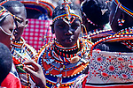 Maasai women and girls dressed in their best jewellery <br />
