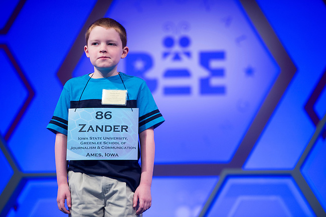 Speller No. 086, Zander Reed, 10, fifth grade Ames Home School Assistance Program, Ankeny, Iowa, competes in the preliminary rounds of the Scripps National Spelling Bee at the Gaylord National Resort and Convention Center in National Habor, Md., on Wednesday, May 29, 2013. Photo by Bill Clark