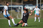 Paige Lloyd (18) of the High Point Panthers attempts a sliding tackle against Alea Hyatt (17) of the North Carolina Tar Heels during second half action at Koka Booth Stadium on November 11, 2017 in Cary, North Carolina.  The Tar Heels defeated the Panthers 3-0.   (Brian Westerholt/Sports On Film)