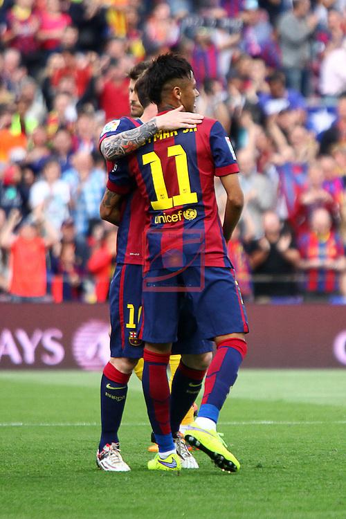 League BBVA 2014/2015. Game: 38.<br /> FC Barcelona vs Deportivo: 2-2.<br /> Messi &amp; Neymar.