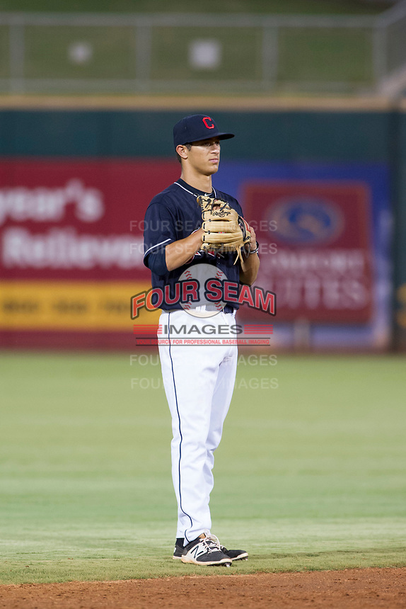 AZL Indians shortstop Tyler Freeman (7) on defense against the AZL Rangers on August 26, 2017 at Goodyear Ball Park in Goodyear, Arizona. AZL Indians defeated the AZL Rangers 5-3. (Zachary Lucy/Four Seam Images)