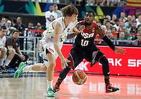 Slovenia's Jure Balazic (l) and USA's Kyrie Irving during 2014 FIBA Basketball World Cup Quarter-Finals match.September 9,2014.(ALTERPHOTOS/Acero)