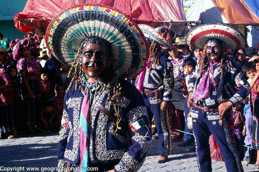 Solola fiesta, Guatemala, central America. Dancers wear masks of Spanish colonisers.