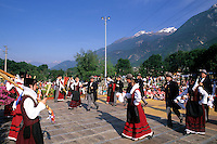 Beautiful Lake Como area of Northern Italy celebration of music festival with instruments costumes and dancing in Fenis Ital