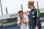 16.07.2017, Stadion an der Bremer Bruecke, Osnabrueck, GER, FSP VfL Osnabrueck vs SV Werder Bremen<br /> <br /> im Bild<br /> Johannes Eggestein (Werder Bremen #24) verl&auml;sst nach Duell / Zweikampf mit Konstantin Engel (VfL Osnabrueck #5) (nicht im Bild) mit Schmerzen / vergr&auml;bt sein Gesicht in H&auml;nden, <br /> <br /> Foto &copy; nordphoto / Ewert