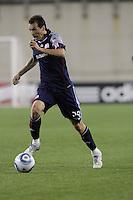 New England Revolution midfielder Marko Perovic (29) driving for the net. The New England Revolution defeated the New York Red Bulls, 3-2, at Gillette Stadium on May 29, 2010.