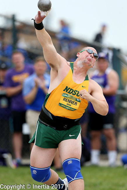 FARGO, ND - MAY 12: Alex Renner from North Dakota State throws the shot during the men's shot put at the 2017 Summit League Outdoor Championship Friday afternoon at Ellig Sports Complex in Fargo, ND. (Photo by Dave Eggen/Inertia)