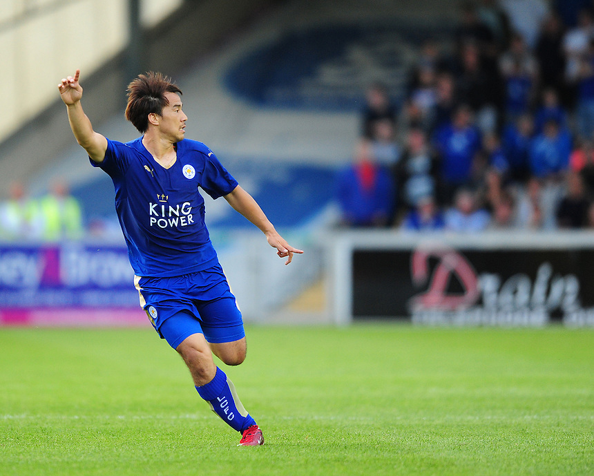 Leicester City&rsquo;s Shinji Okazaki in action during todays match  <br /> <br /> Photographer Chris Vaughan/CameraSport<br /> <br /> Football - Football Friendly - Lincoln City v Leicester City - Tuesday 21st July 2015 - Sincil Bank - Lincoln<br /> <br /> &copy; CameraSport - 43 Linden Ave. Countesthorpe. Leicester. England. LE8 5PG - Tel: +44 (0) 116 277 4147 - admin@camerasport.com - www.camerasport.com