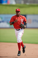 GCL Nationals center fielder Edwin Ventura (15) jogs to the dugout during the first game of a doubleheader against the GCL Mets on July 22, 2017 at The Ballpark of the Palm Beaches in Palm Beach, Florida.  GCL Mets defeated the GCL Nationals 1-0 in a seven inning game that originally started on July 17th.  (Mike Janes/Four Seam Images)
