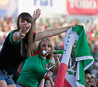 PASADENA, CA – June 25, 2011: Mexico fans after Mexico's third goal  during the Gold Cup Final match between USA and Mexico at the Rose Bowl in Pasadena, California. Final score USA 2 and Mexico 4.