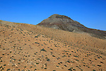 Bare moon-like arid landscape in mountains between Pajara and La Pared, Fuerteventura, Canary Islands, Spain