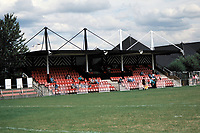 The main stand at Fisher '93 FC Football Ground, Surrey Docks Stadium, Rotherhithe, London, pictured on 29th August 1994