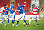 St Johnstone v Hamilton Accies...12.09.15  SPFL McDiarmid Park, Perth<br /> Brian Easton and Greg Docherty<br /> Picture by Graeme Hart.<br /> Copyright Perthshire Picture Agency<br /> Tel: 01738 623350  Mobile: 07990 594431