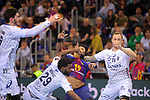 VELUX EHF 2017/18 EHF Men's Champions League Last 16.<br /> FC Barcelona Lassa vs Montpellier HB: 30-28.<br /> Arnaud Bingo, Timothey N'Guessan &amp; Valentin Porte.