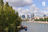 La Defense Financial District and  Seine river (Licence this image exclusively with Getty: http://www.gettyimages.com/detail/95794843 )