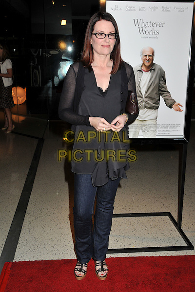 "MEGAN MULLALLY.""Whatever Works"" Los Angeles Premiere held at the Pacific Design Center, West Hollywood, CA, USA..June 8th, 2009.full length jeans denim black sheer top  black glasses .CAP/ADM/BP.©Byron Purvis/AdMedia/Capital Pictures."