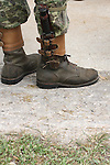 Military soldier boots and knife for defense