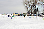 Ice fishing on the Saint Lawrence river in Lavaltrie, Quebec