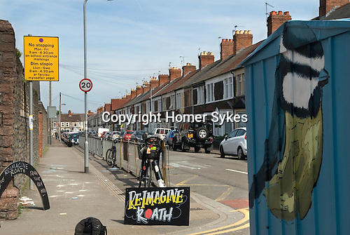 Made In Spring. Roath Cardiff Wales. Art student Josh Mousely's 'Reimagine Roath' project and street artists Sam & Helen aka The Modern Alchemists make MiR's latest residency space into an artwork. May 2014