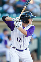 Jason Coats (17) of the Winston-Salem Dash at bat against the Myrtle Beach Pelicans at BB&T Ballpark on July 16, 2014 in Winston-Salem, North Carolina.  The Pelicans defeated the Dash 6-2.   (Brian Westerholt/Four Seam Images)