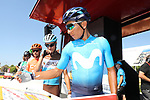 Nairo Quintana (COL) Movistar Team at sign on before the start of Stage 2 of La Vuelta 2019 running 199.6km from Benidorm to Calpe, Spain. 25th August 2019.<br /> Picture: Luis Angel Gomez/Photogomezsport | Cyclefile<br /> <br /> All photos usage must carry mandatory copyright credit (© Cyclefile | Luis Angel Gomez/Photogomezsport)