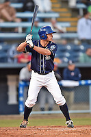 Asheville Tourists second baseman Michael Benjamin #18 awaits a pitch during a game against the Rome Braves at McCormick Field on May 1, 2014 in Asheville, North Carolina. The Tourists defeated the Braves 8-7. (Tony Farlow/Four Seam Images)