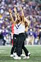 SEATTLE, WA - SEPTEMBER 14: Washington Cheer member Emma Smith entertained fans during the college football game between the Washington Huskies and the Hawaii Rainbow Warriors on September 14, 2019 at Husky Stadium in Seattle, WA.