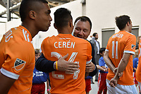 San Jose, CA - Saturday April 14, 2018: Jesse Fioranelli, Darwin Cerén prior to a Major League Soccer (MLS) match between the San Jose Earthquakes and the Houston Dynamo at Avaya Stadium.