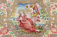 Jesus praying on the Mount of Olives, detail of the embroidered chasuble, an outer liturgical vestment, of St Agnes of Jesus, or St Agnes of Langeac, 1602-34, in the Monastere Sainte Catherine de Sienne, or Monastery of St Catherine of Siena, founded 1623 by St Agnes of Jesus, in Langeac, Haute Loire, France. Picture by Manuel Cohen