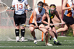 Santa Barbara, CA 02/13/10 - Alina Daszkowski (Texas #8) and Solveig Lee (Oregon #7) in action during the Texas-Oregon game at the 2010 Santa Barbara Shoutout, Texas defeated Oregon 11-9.