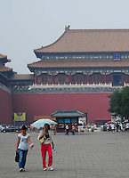 Aug. 6, 2008; Beijing, CHINA; Visitors walk inside the Forbidden City in Beijing. The Olympics begin at 8pm on August 8, 2008. Mandatory Credit: Mark J. Rebilas-