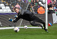 Wednesday, 23 April 2014<br /> Pictured: Goalkeeper Louis Moore.<br /> Re: Swansea City FC are holding an open training session for their supporters at the Liberty Stadium, south Wales,
