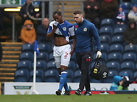 Blackburn Rovers' Ryan Nyambe goes off with an injury in the first half<br /> <br /> Photographer Rachel Holborn/CameraSport<br /> <br /> The EFL Sky Bet League One - Blackburn Rovers v Blackpool - Saturday 10th March 2018 - Ewood Park - Blackburn<br /> <br /> World Copyright &copy; 2018 CameraSport. All rights reserved. 43 Linden Ave. Countesthorpe. Leicester. England. LE8 5PG - Tel: +44 (0) 116 277 4147 - admin@camerasport.com - www.camerasport.com