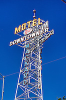 Sign tower for the Downtowner Motel, advertising rooms for $5.00 in Flagstaff Arizoan located on Route 66.