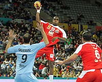 18.01.2013 Barcelona, Spain. IHF men's world championship, prelimanary round. Picture show   Mosbah Sanai  in action during game between Arnetina vs Tunisia at Palau St Jordi