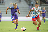 Orlando, FL - Saturday July 01, 2017: Rachell Hill, Sarah Gordon during a regular season National Women's Soccer League (NWSL) match between the Orlando Pride and the Chicago Red Stars at Orlando City Stadium.