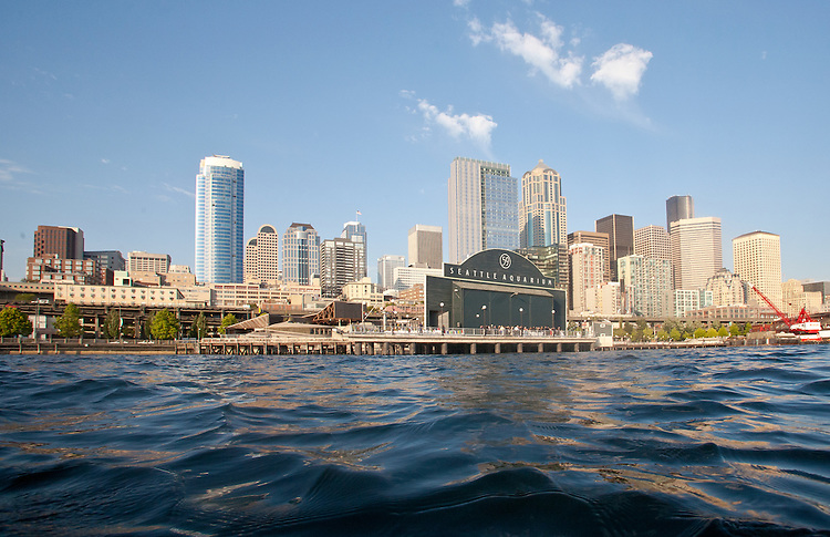 Seattle, skyline, Eliott Bay, Seattle Aquarium, downtown, waterfront, Washington State, USA, Puget Sound,