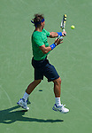 Raphael Nadal (ESP) defeats Julien Benneteau (FRA)  at the Western and Southern Financial Group Masters Series in Cincinnati on August 17, 2011.   Nadal won, 6-4, 7-5.