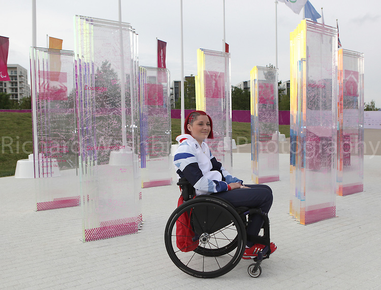 Paralympics London 2012 - ParalympicsGB - Athletics held at the Olympic Stadium 1st September 2012  ..Photoshoot of Kylie Grimes in the Paralympic Village. in London. Photo: Richard Washbrooke/ParalympicsGB