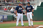 Reno Aces Manager Phil Nevin talks with Nick Ahmed at third base during a game against the Omaha Storm Chasers, in Reno, Nev., on Sunday, Aug. 24, 2014.<br /> Photo by Cathleen Allison