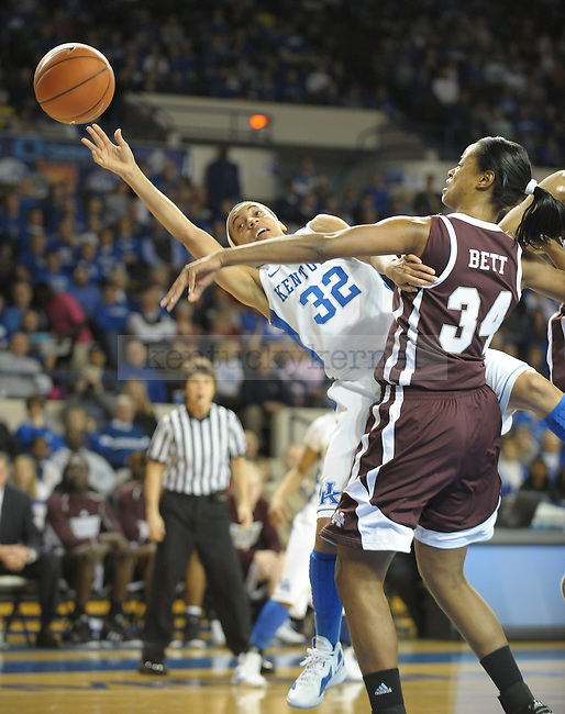 Kentucky's Kastine Evans (32) is fouled while shooting during the first half of the University of Kentucky Women's basketball game against Mississippi State at Memorial Coliseum in Lexington, Ky., on 1/8/12. Uk led the game at half 50-21. Photo by Mike Weaver | Staff