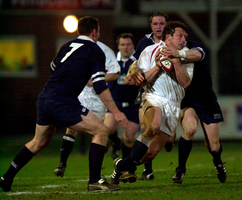 Photo. Richard Lane.England A v Scotland A at Franklins Gardens, Northampton. 20/03/2003.Adam Vander attacks.