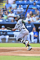 Augusta GreenJackets center fielder Heliot Ramos (14) swings at a pitch during a game against the Asheville Tourists at McCormick Field on August 18, 2018 in Asheville, North Carolina. The Tourists defeated the GreenJackets 14-3. (Tony Farlow/Four Seam Images)